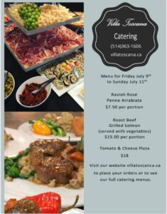 Menu for catering takeout weekend of July 10th